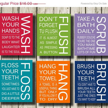 just bathroom signs. ON SALE 50 % Wash Flush Scrub Floss Hang Brush Set Of 6 Bathroom Signs Printable Just P