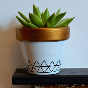 Macrame Geometric Plant Pot - Skandi - Planter - White and Gold - Zig Zag - Modern - Hygge - Minimalist - Hand Drawn - Line - Clean - Cactus