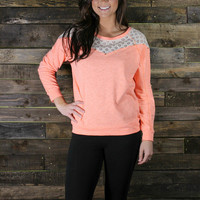 Lace Contrast Studded Sweatshirt
