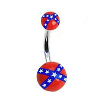 Rebel Flag Belly Button Ring