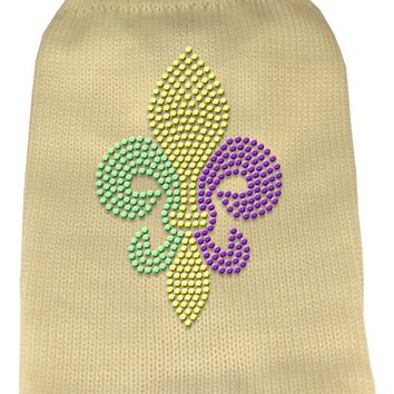 Mardi Gras Fleur De Lis Rhinestone Knit Pet Sweater Lg Cream large
