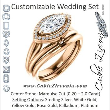 CZ Wedding Set, featuring The Wanda Lea engagement ring (Customizable Marquise Cut Halo-style with Ultrawide Tri-split Band & Peekaboo Accents)