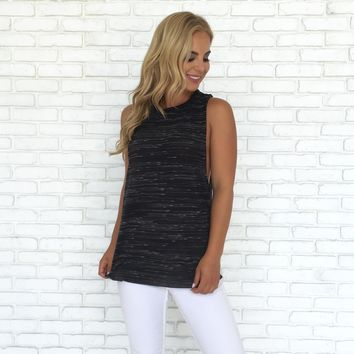 Soft Stripe Tank Top in Black
