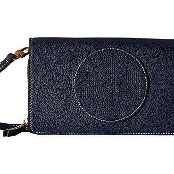 Tory Burch Perforated Logo Flat Leather Crossbody Wallet, Navy