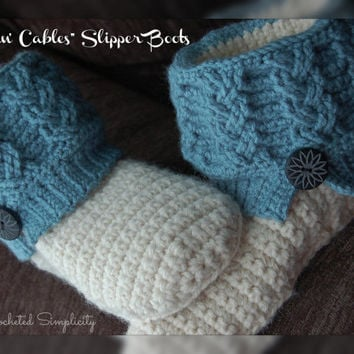 "Crochet Pattern: ""Kickin' Cables"" Slipper Boots, Permission to Sell Finished Items"