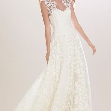 Carolina Herrera 'Madeline' Embroidered Illusion A-Line Gown (In Stores Only) | Nordstrom