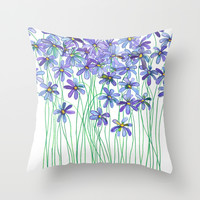 Purple Daisies in Watercolor & Colored Pencil Throw Pillow by Micklyn