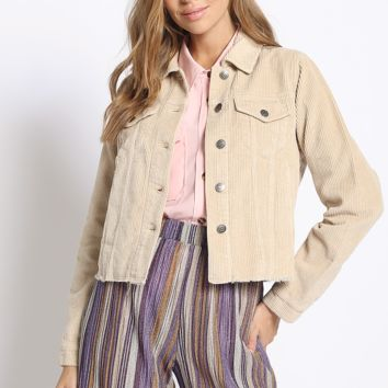 Power Cord Trucker Jacket in Beige