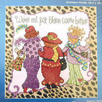 Free US Shipping, Vintage Cross Stitch Kit, Needlework Pattern Tutorial, Best Friends Counted Cross Designs for the Needle Sisters Women