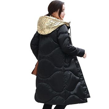 New Winter Collection 2017 Women's mid-Length down Jacket Warm Jacket Coat for Women High Quality Gold and silver hooded jacket