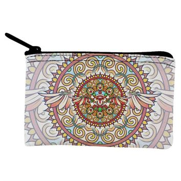 DCCKJY1 Mandala Trippy Stained Glass Owl Coin Purse