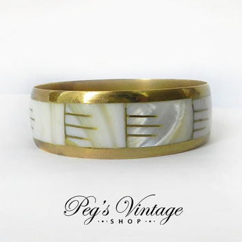 Vintage Brass and Mother of Pearl Bangle Bracelet, Chunky Mop Bangle