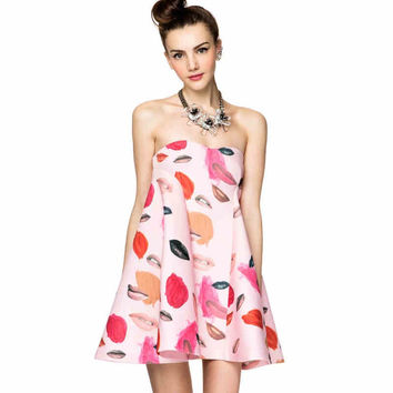 Pink Lips And Paint Print Strapless Dress
