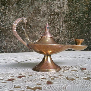 Vintage Brass 5 Inch Genie Lamp Aladdin Incense Burner