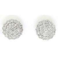 Round Diamond Ladies Fashion Earrings in 14k White Gold 1 ctw