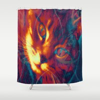 Heat Signature of the Gamma Ray Cat  Shower Curtain by Distortion Art