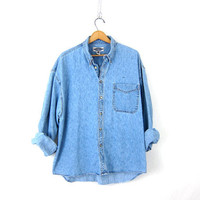 Vintage denim shirt. Button up baggy pocket shirt. Slouchy boyfriend jean shirt. Cotton preppy Shirt. Oversized grunge shirt. Mens XL