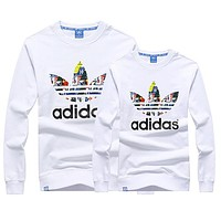 Adidas Women Men Couple Fashion Casual Scoop Neck Long Sleeve Top Sweater Pullover