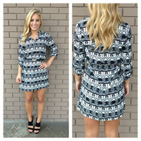 Black & White Arrow Print Shift Dress