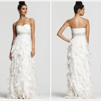 Sue Wong White Feather Gown