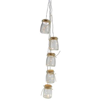 Set of 5 Battery Operated LED Glass Jar Hanging Christmas Lights - Clear Wire