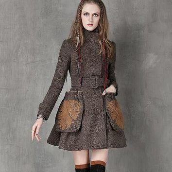 Vintage Style Wool Blend Chic Coat Dress!  Floral Embroidered Pockets w/ adjustable Waist Belt S-L