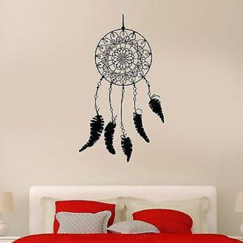 Wall Decal Dream Catcher Plumage Patterns Bedroom Art Vinyl Stickers Unique Gift (ed140)