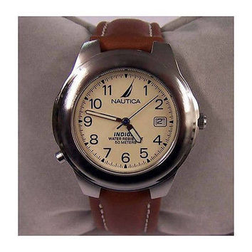 Nautica A07501 Luminescent Round Cream Face Brown Leather Strap Men's Watch