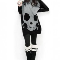 Allegra K Woman Long Sleeve Skull Printed Stretch Pullover Shirt:Amazon:Clothing