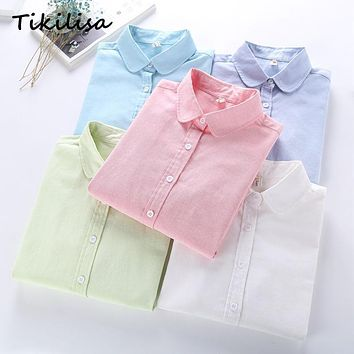 Tikilisa Women Quality Long Sleeve Blouses Casual Tops BRAND Cotton Oxford Solid OFFICE White Woman Shirts Chemisier Blusas