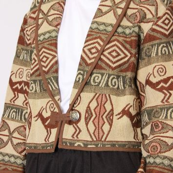 Cropped Print Tapestry Jacket / M L