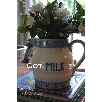 Got Milk?  Blue English Transferware Pitcher Advertising Pitcher MILK