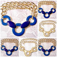 Monet Blue Navy Ring Pendant Necklace Choker Gold Tone Vintage Double Chain Link Open Large Curb Wave Style Adustable Hook Closure