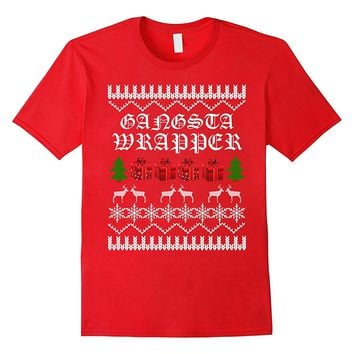 UGLY CHRISTMAS SWEATER SHIRT Gangsta Wrapper Funny Holiday