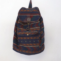 Vintage Retro 80s 90s Southwestern Print Cotton Rucksack Cloth Bag Mini Backpack Drawstring Book Bag Pouch Boho Hipster Grunge Tribal Boho
