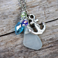 Sea Glass Jewelry from Hawaii by Mermaid Tears Hawaiian Jewelry Anchor Necklace made in Hawaii Sailing Necklace Nautical Necklace