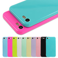 Fashion Candy Color Jelly Soft TPU Silicone Shockproof Case for iPhone 7 6S 6 5s SE Cell Phone Cover For iPhone 6 6s 7 Plus Capa