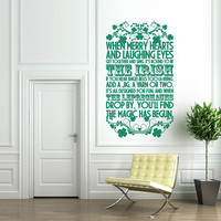 Vinyl Wall Decal Sticker Art - The Irish - St Patrick's Day Wall Mural