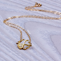 Clover necklace / Four Leaf Clover necklace / Heart necklace / Love necklace / Bridesmaid necklace / Gold clover necklace / CZ | 0208NM