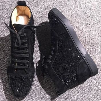 Christian Louboutin CL Rhinestone Style #1971 Sneakers Fashion Shoes Best Deal Online