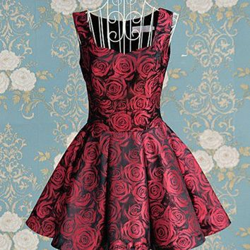 Vintage Inspired Brocade Burgundy Summer Roses Tea Dress.Floral Dress | GlamUp - Clothing on ArtFire