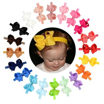 "20pcs/Lot 4"" Grosgrain Ribbon Hair Bow Headbands Accessories Hairband Flower Solid Color for Baby Girl Toddlers Kids Children"