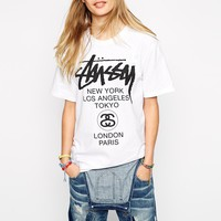 Stussy World Tour Front And Back Logo T-Shirt