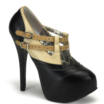 Bordello Beige and Black Teeze Platforms