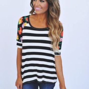 Striped Floral Sleeve Top- Black