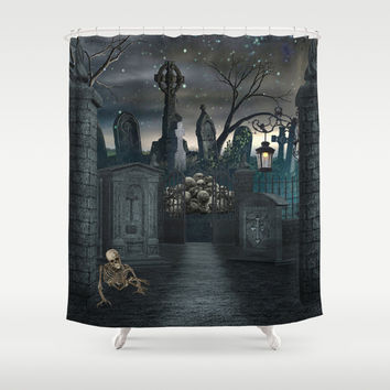 Graveyard #1 * Halloween Churchyard Scary Spooky Skeleton Tombstone Creepy Shower Curtain by Juliana RW