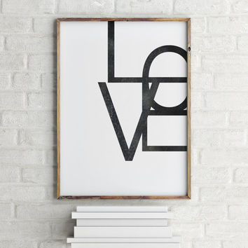 "Inspirational poster ""LOVE"" Typographic print Wall artwork Home decor Room poster Motivational quote Printable poster Gift idea"