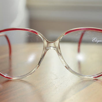 Vintage Oversize Red and Gold Eyeglasses - NOS - Made in Israel 56/14
