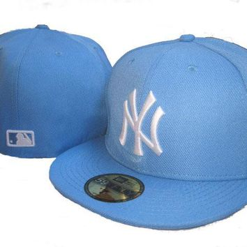 hcxx New York Yankees New Era MLB Authentic Collection 59FIFTY Cap Light Blue-White