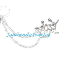 Simple Silver Wing and Dove Ear Cuff Set by jujubee4 on Etsy